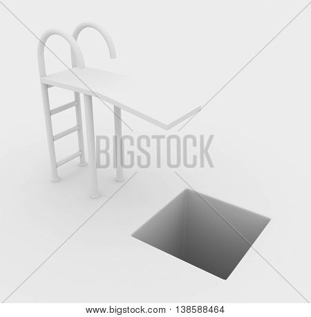 Springboard drop pitfall white abstract horizontal 3d illustration