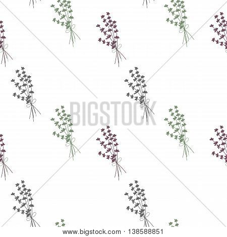 Hand drawn vector seamless pattern with lavender flowers.
