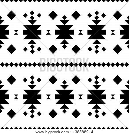 Seamless pattern in black and white ethnical tibal native american style.