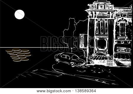 black and white vector sketch of the facade of an old house and a car from the sea at night