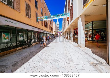 Zadar, Croatia - July 28, 2015: Famous Street Kalelarga In The Old Part Of Town During The Summer In