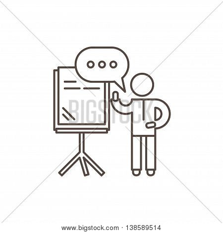 Training seminar concept. Speaker stands near the presentation board and holds seminar. Outline vector illustration.