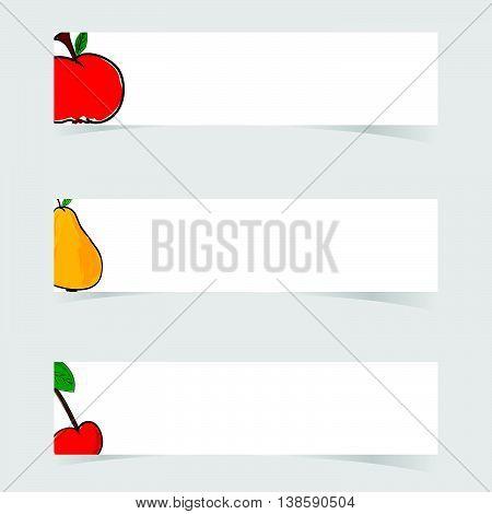 Fruit Fresh With White Banner Set Illustration