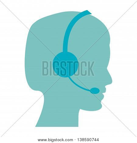 flat design male person with headset icon vector illustration