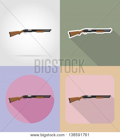 modern weapon firearms flat icons vector illustration isolated on background