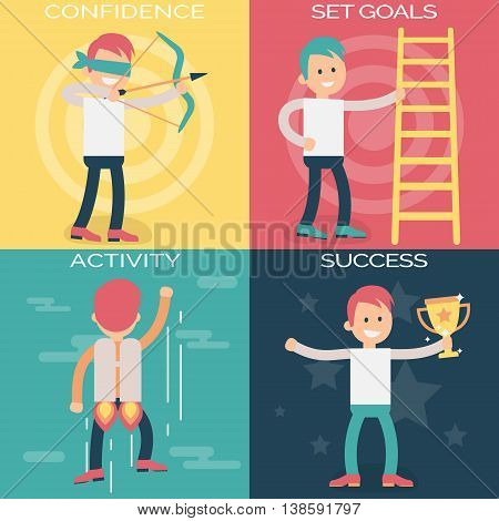 Psychology terms illustrations for achieving success in life and business. Confident person setting personal and professional goals, actively working over them and achieving success.