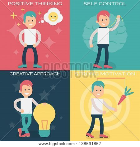 Psychology terms illustrations for personal and professional growth. Person working over personal strong motivation, self-control, positive thinking and creative approach to work.