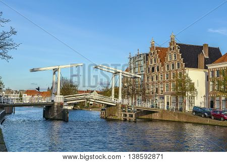 bridge over Spaarne river in Haarlem Netherlands