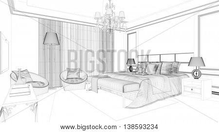 CAD planning of hotel room with wireframe mesh (3D Rendering)
