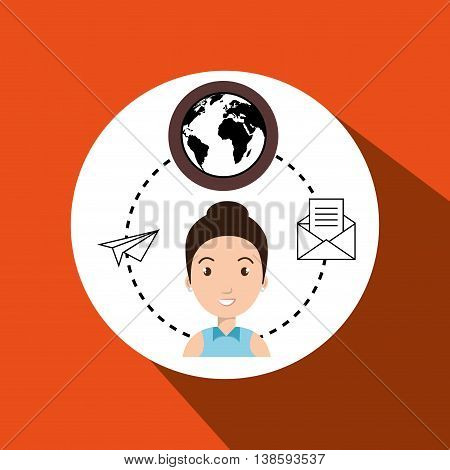 woman with world and envelope isolated icon design, vector illustration  graphic
