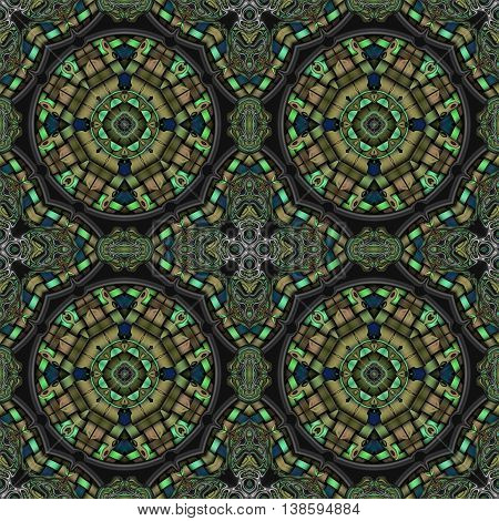 Abstract decorative multicolor (green, brown, blue) texture - kaleidoscope striped 3D pattern