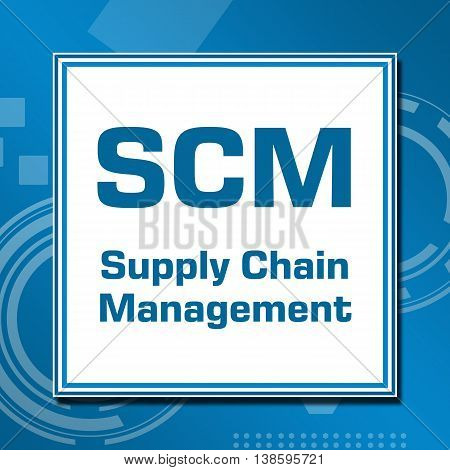 SCM concept image with text written over blue abstract background.
