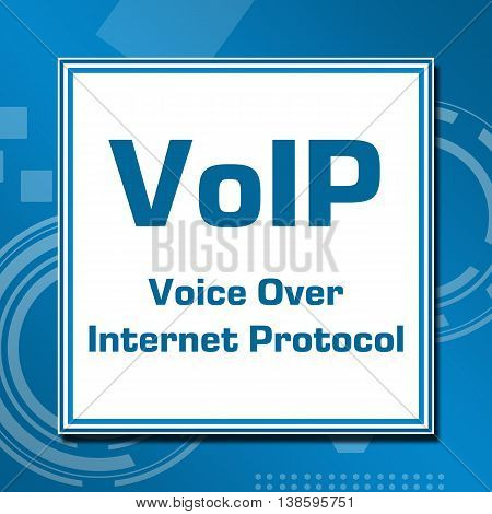 VoIP concept image with text written over blue abstract background.