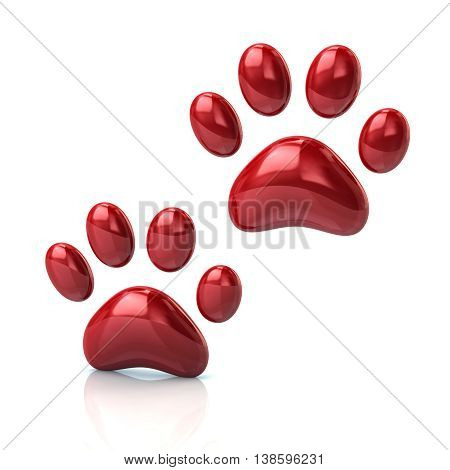 3D Illustration Of Two Cat's Red Paws