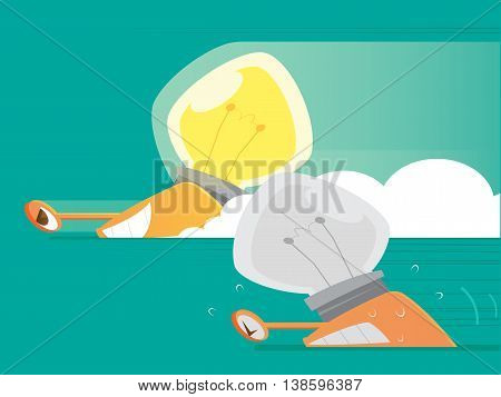 The competition of ideas, Vector cartoon, illustration