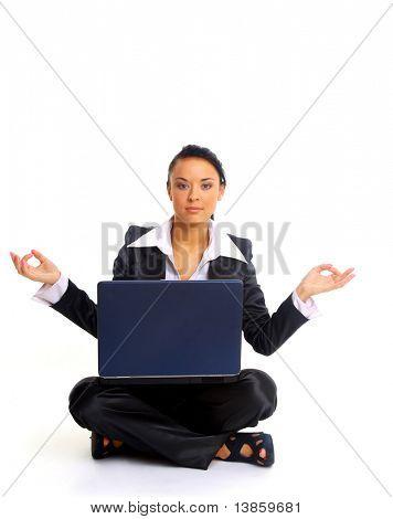 female office worker relaxing