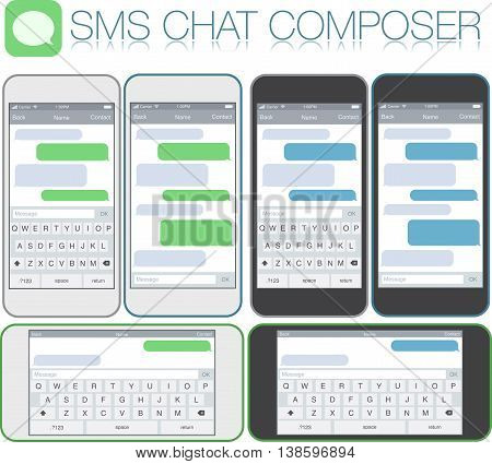 Smartphone chatting sms template bubbles. Place your own text to the message clouds. Compose dialogues using samples bubbles! Horizontal and vertical phone positions. Flat design vector illustration