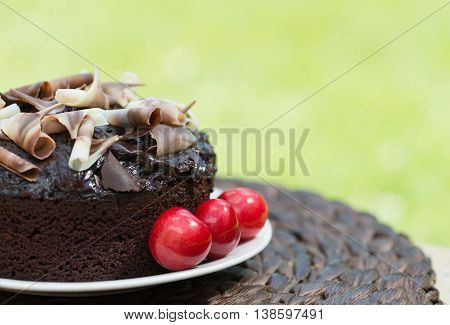Rich chocolate cake set outside in a garden shot with a shallow depth of field to ad copy space and text. Ideal for garden party invitations and events or cafe menu.