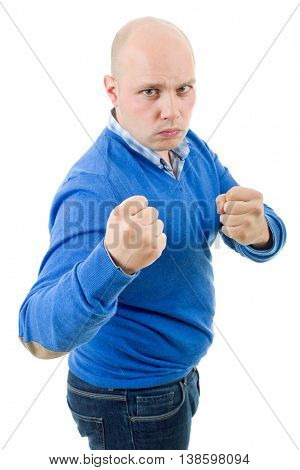 young man showing his fist isolated