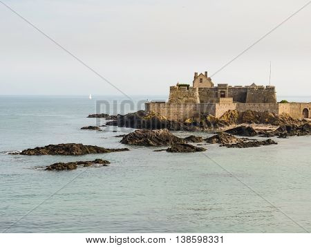 The seacoast Saint Malo and Fort National. Saint Malo. Brittany, France