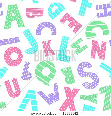 Colorful cartoon alphabet seamless pattern on white background. Cute abc design for book cover, fabric, decor, print on baby's clothes, pillow etc. Decorative letters composition.