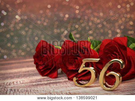 birthday concept with red roses on wooden desk. 3D render - fifty-sixth birthday. 56th