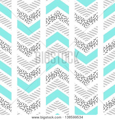 Herringbone abstract seamless pattern in memphis style. blue, black and white arrows in retro 80s design.