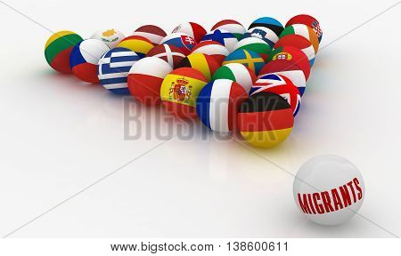 Concept - The European Union in the form of pyramids of billiard balls with the problem of migrants