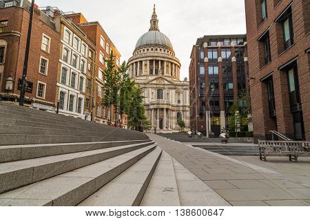 LONDON UK - 6TH JULY 2016: A view towards St Pauls Cathedral in central London in the morning.
