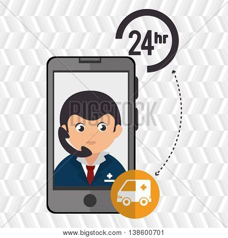 24-hour health and ambulance isolated icon design, vector illustration  graphic