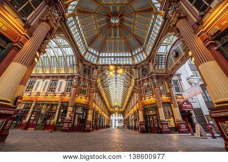 LONDON UK - 6TH JULY 2016: A low angle view of part of Leadenhall Market in the City of London in the morning.