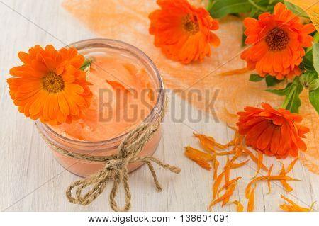 Marigold Cream With A Fresh Flower Bouquet