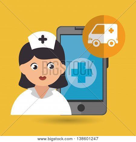 nurse and ambulance isolated icon design, vector illustration  graphic