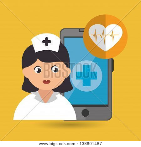 nurse and cardiology isolated icon design, vector illustration  graphic