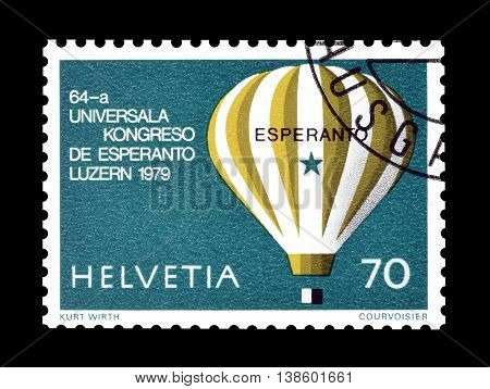 SWITZERLAND - CIRCA 1979 : Cancelled postage stamp printed by Switzerland, that shows Hot air balloon.