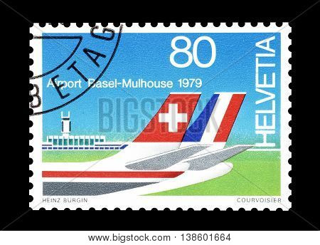 SWITZERLAND - CIRCA 1979 : Cancelled postage stamp printed by Switzerland, that shows Basel Mulhouse International Airport.