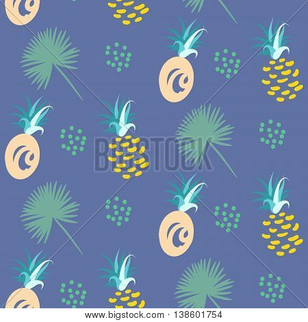 Pineapple abstract exotic blue vector seamless background. Textile fabric green mint ananas pattern. Apparel and linen design.