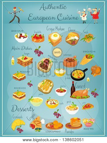 European Cuisine Menu. Greek Italian French Food. Menu Cover. National Dishes. Vector Illustration.