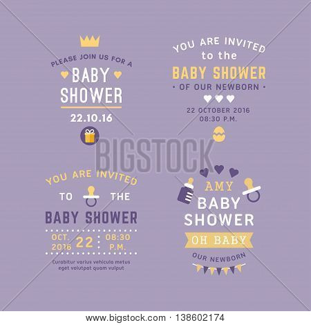 A set of four text labels for baby shower invitations and post cards. Colored flat vector illustrations on violet background.