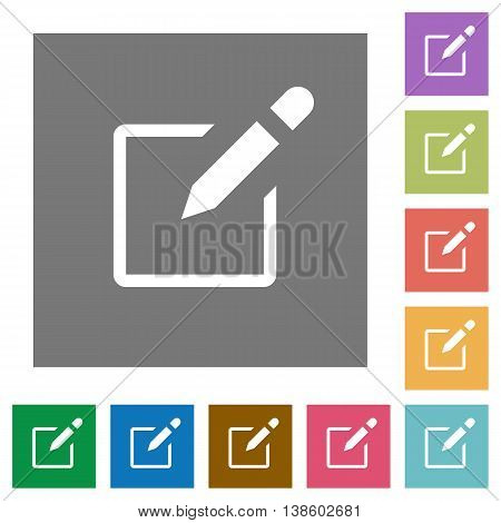 Editbox flat icon set on color square background.