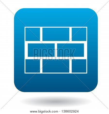Brick wall icon in simple style in blue square. Brickwork symbol