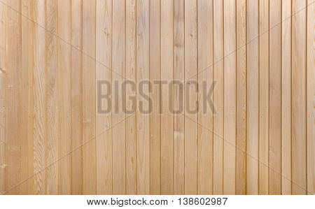 Detail of a light brown wooden wall of vertical boards with two rows screws in den central area