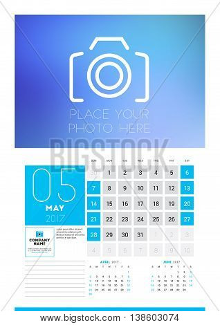 Wall Calendar Planner Print Template For 2017 Year. May 2017. Calendar Poster With Place For Photo.