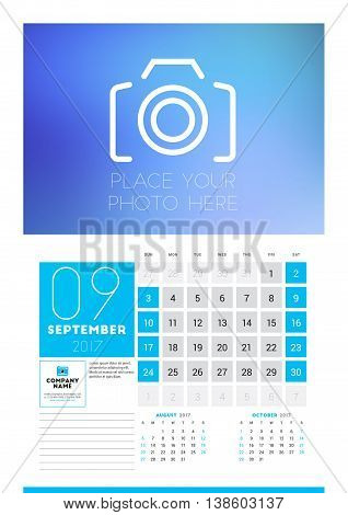 Wall Calendar Planner Print Template For 2017 Year. September 2017. Calendar Poster With Place For P