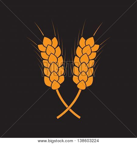 Wheat ears or rice icon. Crop symbol isolated on black background. Design element for bread packaging or beer label. Vector illustration.