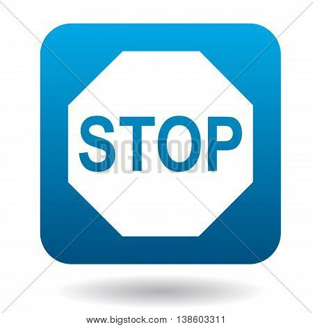 Stop sign icon in simple style in blue square. Rules of the road symbol
