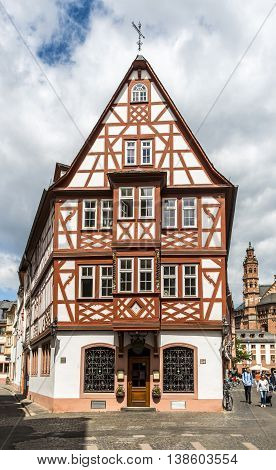 Mainz - Half Timbered House In Old Town