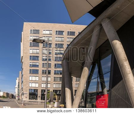 Westhafen In The Harbor Area In Frankfurt, Germany