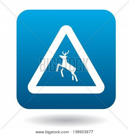 Sign caution deer icon in simple style in blue square. Rules of the road symbol