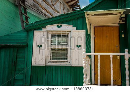 Green Wooden House In The Territory Krutitsy Patriarchal Metochion, Moscow, Russia.